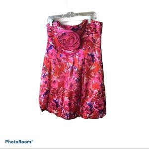 BCBG Red Floral Rosette Mini Dress